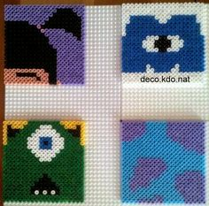 Monsters Inc. coasters hama perler beads by deco.kdo.nat