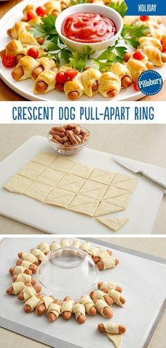 Crescent Dog Pull-Apart Wreath Everyone loves crescent dogs especially when they're put together in a festive wreath! This Crescent Dog Pull-Apart Wreath takes minutes to put together and is a guaranteed holiday hit! All of your guests and fam Best Christmas Appetizers, Christmas Party Food, Xmas Food, Christmas Finger Foods, Christmas Meals, Christmas Christmas, Christmas Dinner Ideas Family, Christmas Entertaining, Christmas Sweets