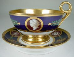 Late 18th Century Early 19th Century French Hand Painted Cup and Saucer
