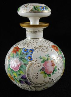 Vintage Antique Perfume Cologne Bottle w Elaborate All Over Enamel Floral   eBay