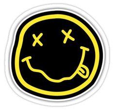 'Nirvana' Sticker by Binski Band Stickers, Cool Stickers, Printable Stickers, Laptop Stickers, Logo Sticker, Sticker Design, Nirvana Logo, Nirvana Lyrics, Tumblr Stickers