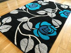 Large Black Teal Grey Silver Blue Mat Modern Rug 160 x 230 cm