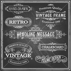 Vintage Chalkboard Frames and Ornaments Royalty Free Stock Vector Art Illustration