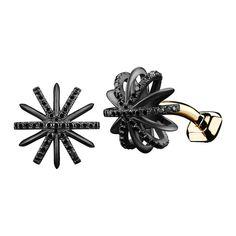 Black Diamond Snowflake Cufflinks | From a unique collection of vintage cufflinks at https://www.1stdibs.com/jewelry/cufflinks/cufflinks/