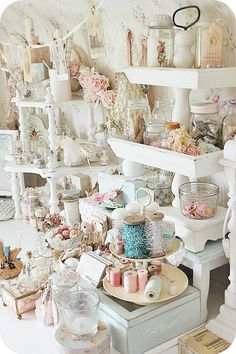shabby chic craft room | Craft room inspiration, shabby chic shelving | Creativity  Gives me an awesome idea using glass milk jars and wooden box and wooden stool!                                                                                                                                                      More