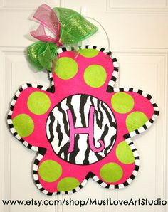 Zebra Print Hand Painted Flower Burlap Door by MustLoveArtStudio, $35.00