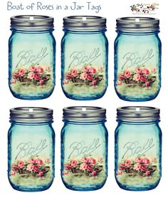 glenda's World : Boat of Roses in a Jar Tags - use on a birthday card?