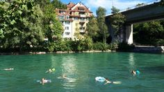 Swimmers make the most of the Aare River whenever the sun shines in Bern. Bern, Summer Days, Switzerland Trip, Travel Destinations, Sunshine, Europe, River, Swimmers, World