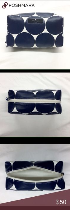 """NWOT Kate Spade Medium Davie Cosmetic Case ♠️♠️ Cute blue dots with cream background. Bought NWT but was not large enough for my travel needs. Dimensions are 7""""W x 4.5""""H x 3.5""""D condition is brand new without tags. kate spade Bags Cosmetic Bags & Cases"""
