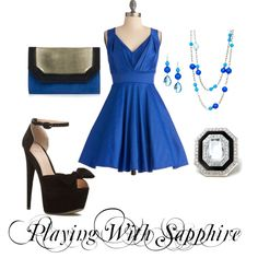 Playing With Sapphire by jessica-shoelover on Polyvore #styleitfab