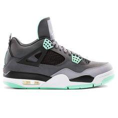 b3d81e027ef3 Nike Air Jordan 4 Retro Shoes - Dark Grey green Glow