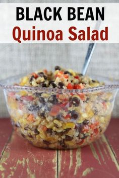 This healthy Black Bean Quinoa Salad recipe is delicious hot or cold! It makes for a great main dish for a vegetarian dinner or as a complementary side dish. It is also gluten free made with your own homemade dressing!