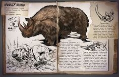 Ark: Survival Evolved Dossiers: Woolly Rhinoceros by DJDinoJosh on DeviantArt Fantasy Creatures, Mythical Creatures, Game Ark Survival Evolved, Rhino Species, Survival Books, Jurassic, Extinct Animals, Prehistoric Creatures, Fantastic Beasts