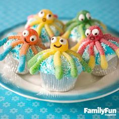 You will love this Octopus Cupcakes Recipe and it's the ultimate Family Fun Idea. They are perfect for your party and we have a video tutorial in our post.