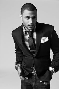 Men's checkered shirt and tie combo.