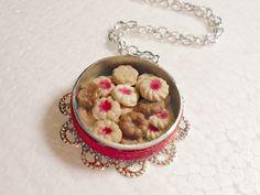 Tin Of Cookies Pendant. Polymer Clay. by GiraffesKiss on Etsy, £10.00