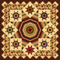 Blazing Star Quilt pattern by Toby Lischko for RJR Fabrics. This free quilt pattern fits a king-size bed and is perfect for autumn!