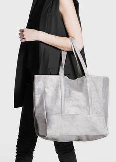Suede shopper bag