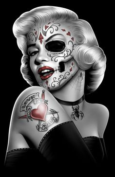 Marlyn Monroe #Skull #Tattoos