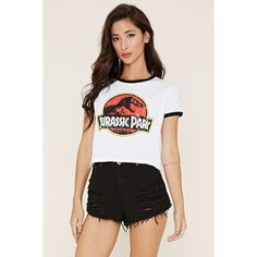 Forever 21 Women's  Jurassic Park Graphic Tee ($15) ❤ liked on Polyvore featuring tops, t-shirts, round neck t shirt, graphic print tees, logo tee, graphic tops and short sleeve graphic tees