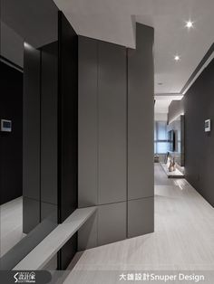 Modern. Monochrome foyer. Mirror. Seats. Full height cabinets Foyer Mirror, Foyer Ideas, Carpentry, Offices, Living Rooms, Entrance, Interiors, Cabinet, Black And White