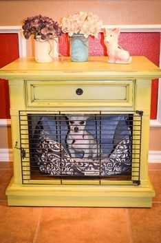 DIY nightstand table / puppy crate www.facebook.com/DosRedos