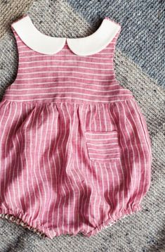 Beautiful Handmade Linen Romper | TsiomikKids on Etsy