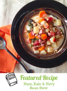 Slow-Cooker Ham, Kale and Navy Bean Soup