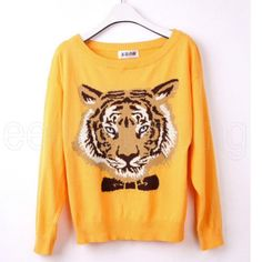 Yellow Tiger Bow Sweater High Street Design.