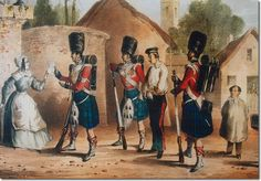 Corporal and escort of 42nd Royal Highland Regiment with prisoner Print  after M A Hayes and published as no.5 in the Spooner Oblong series 1840-44.