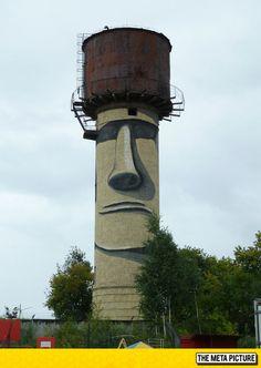 Easter Island Statue Water Tower Street Art