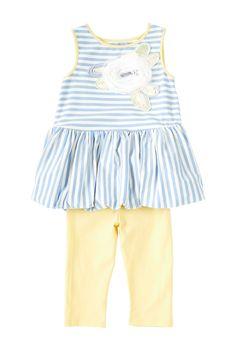 Stripe Flower Applique Dress & Legging 2-Piece Set (Toddler Girls)