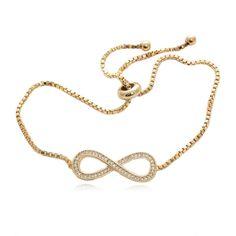 Amazon.com: Luxury Infinity Shape Bracelet 52 Round Cubic Zirconia Gold Plated Box Chain: Jewelry