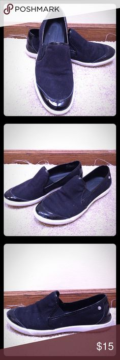 Women's Patent Leather and Canvas Slip On Shoes Women's size 9 medium slip on shoes Dana Buchman Shoes Flats & Loafers