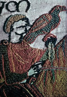 Detail showing embroidery technique from the Bayeux Tapestry, 1170-1180.