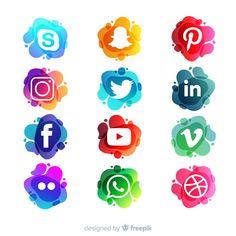 Set de logotipos de redes sociales Icon Design, Web Design, Social Media Art, Cake Logo Design, Apple Logo Wallpaper Iphone, Neon Logo, Chroma Key, Watercolor Logo, App Logo