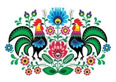 2 roosters in traditional Hungarian/Polish design