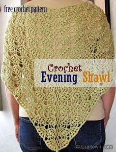 "Free Crochet Pattern - Evening Shawl- This evening shawl will make an elegant accent piece for any outfit, for daytime or evening outings. It comes together easily + fairly quickly. It can be made in many different colors + yarn types. Difficulty: Easy Size: 56"" W x 30"" H, plus fringe. Gauge: 1 pat = 3 1/4""; 2 rows = 1"". Materials: Spinnerin Startime, 6 - 40 gram balls white with silver or similar yarn. Crochet hook size F.°°"
