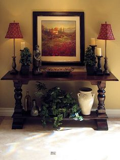 If you are having difficulty making a decision about a home decorating theme, tuscan style is a great home decorating idea. Many homeowners are attracted to the tuscan style because it combines sub… Foyer Decorating, Tuscan Decorating, Decorating Ideas, Decor Ideas, Interior Decorating, Tuscan Design, Tuscan Style, Sofa Table Decor, Table Decorations