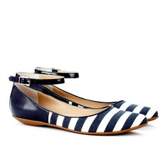navy and white flats with ankle straps