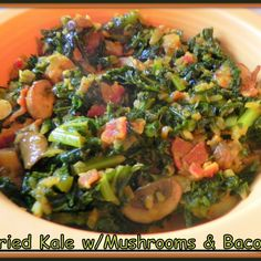 Yum! I'd Pinch That | Fried Kale with Mushrooms and Bacon #recipe