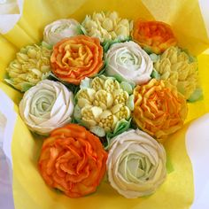 Spring bouquet with tulips, carnations and ranunculus Ranunculus, Carnations, Tulips, Cupcakes Delivered, Spring Cupcakes, Cupcake Bouquets, Beautiful Cupcakes, Spring Bouquet, Vanilla Cupcakes