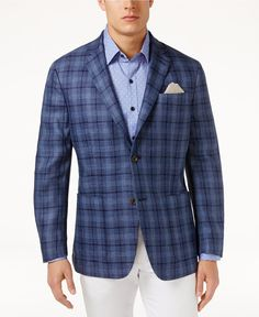 Tasso Elba Men's Classic-Fit Textured Plaid Linen Sport Coat, Only at Macy's - Blazers & Sport Coats - Men - Macy's