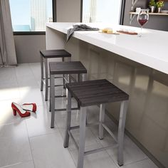 Amisco Ryan Metal Stool, Backless, Distressed Wood Seat, Counter Height
