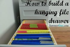 How to build a hanging file folder drawer - Sawdust Girl®