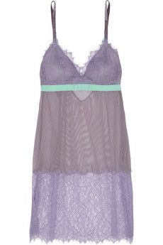 Helena Christensen for Triumph Elodie by Helena lace and stretch-tulle chemise | THE OUTNET