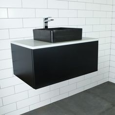 Eden Matte Black Wall Mount Vanity Cabinet without Top 750mm | Highgrove Bathrooms