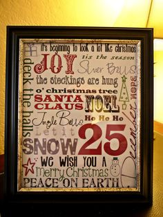 Subway Christmas Art- Printed this one out for the season. ~JKM Dec 2012