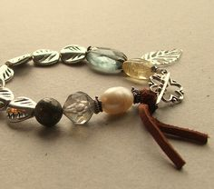 Silver Beads and Gemstone Bohemian Bracelet with brown suede tassel