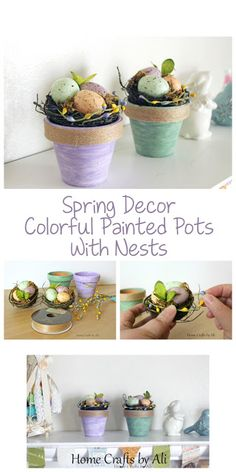 Spring Decor ~ Colorful Painted Pots with Nests. Add a little springtime to your home with this simple and fast DIY project.